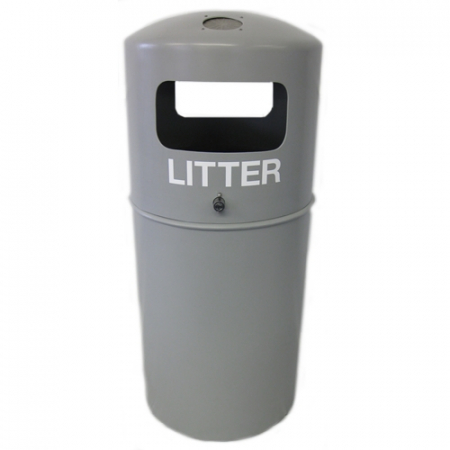 Hooded Top Litter Bin with Fitted Stubbing Plate - 90 Litre