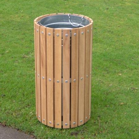 Circular Slatted Litter Bin - 56 Litre Capacity