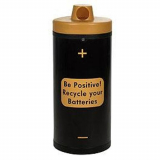 Battery Recycling Bin with 'Be Positive' Graphics