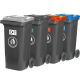 Set Of 4 Wheeled Bins with Coloured Lids - 120 Litre
