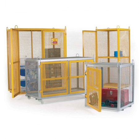 Gas Cylinder Steel Galvanised Security Cage with Yellow Doors