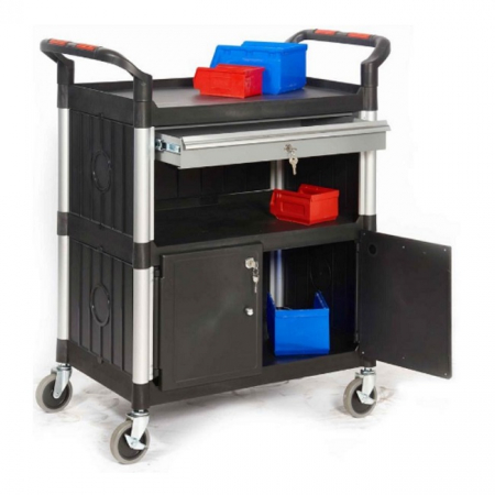ProPlaz 3 Shelf Trolley with Lockable Steel Drawer & Cupboard - 150kg Capacity