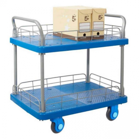 ProPlaz Super Silent Two Tier Platform Trolley with Wire Surround - 300kg Capacity