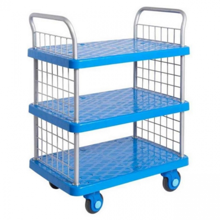 ProPlaz Super Silent Three Tier Platform Trolley with Mesh Ends - 300kg Capacity