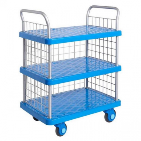 ProPlaz Super Silent Three Tier Platform Trolley with Mesh Side & Ends - 300kg Capacity