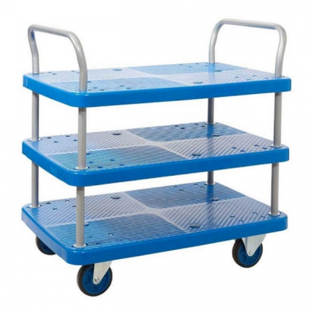 ProPlaz Blue Three Tier Platform Trolley - 300kg Capacity