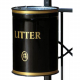 Knight Open Top Post Mountable Litter Bin - 40 Litre Capacity