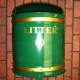 Knight Dome Top Wall Mountable Litter Bin - 40 Litre Capacity