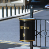Knight Open Top Wall Mountable Litter Bin - 40 Litre Capacity