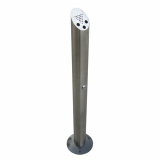 Floor Mounted Brushed Steel Cylinder Cigarette Bin