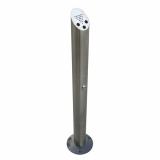 Floor Mounted Brushed Steel Cylinder Cigarette Bin
