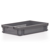 24L Euro Stacking Container - Perforated Sides & Solid Base - 600 x 400 x 120mm
