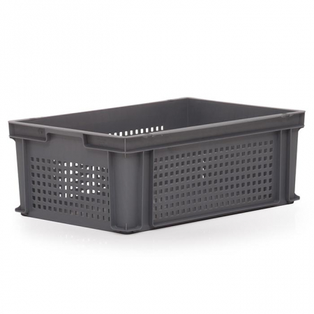 44L Euro Stacking Container - Perforated Sides & Solid Base - 600 x 400 x 220mm
