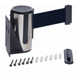 Stainless Steel Wall Mounted Belt Barrier - 2.5m Black Belt