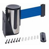 Stainless Steel Wall Mounted Belt Barrier - 2.5m Blue Belt