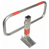 Commander Drop Down Frame Parking Post - Galvanised Finish with Red Reflective Bands