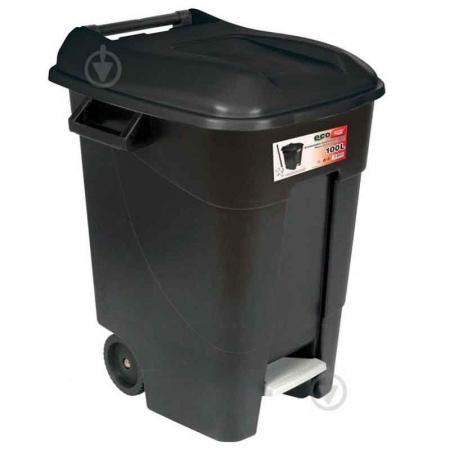 Pedal Operated Wheeled Litter Bin - 100 Litre - Black Lid