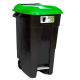 Pedal Operated Wheeled Litter Bin - 100 Litre - Green Lid