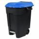 Pedal Operated Wheeled Litter Bin - 100 Litre - Blue Lid