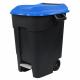 Pedal Operated Wheeled Litter Bin - 100 Litre - Blue Lid