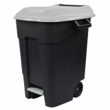 Pedal Operated Wheeled Litter Bin - 100 Litre - Grey Lid