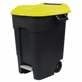 Pedal Operated Wheeled Litter Bin - 100 Litre - Yellow Lid
