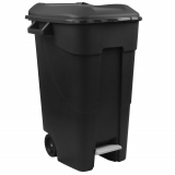 Pedal Operated Wheeled Litter Bin - 120 Litre - Black Lid