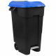 Pedal Operated Wheeled Litter Bin - 120 Litre - Blue Lid