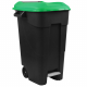 Pedal Operated Wheeled Litter Bin - 120 Litre - Green Lid