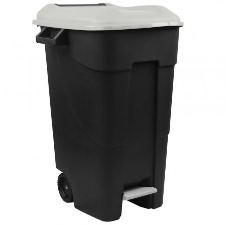 Pedal Operated Wheeled Litter Bin - 120 Litre - Grey Lid