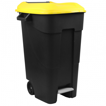 Pedal Operated Wheeled Litter Bin - 120 Litre - Yellow Lid