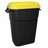 Clasp Lid Litter Bin - 75 Litre - Yellow Lid