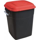 Clasp Lid Litter Bin - 50 Litre - Red Lid
