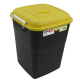 Clasp Lid Litter Bin - 50 Litre - Yellow Lid