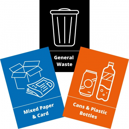 Bin Waste and Recycling Stickers - Pack of 3