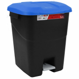Pedal Operated Litter Bin - 50 Litre - Blue Lid