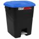 Pedal Operated Litter Bin - 50 Litre - Blue Lid