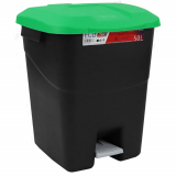 Pedal Operated Litter Bin - 50 Litre - Green Lid