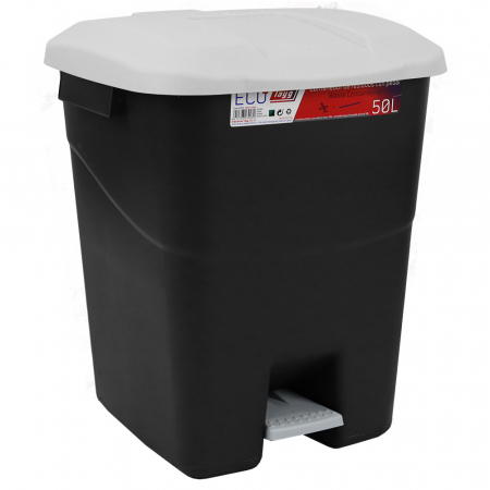 Pedal Operated Litter Bin - 50 Litre - Grey Lid