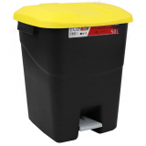 Pedal Operated Litter Bin - 50 Litre - Yellow Lid