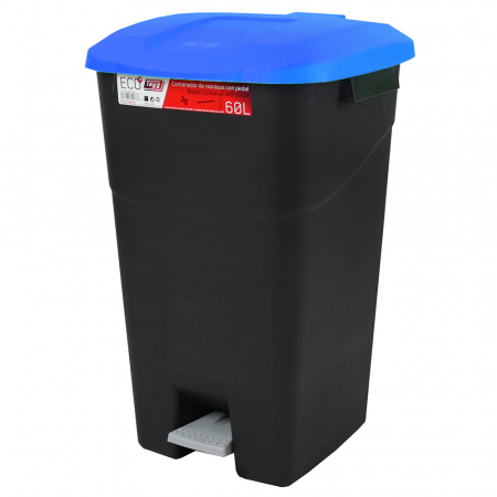 Pedal Operated Litter Bin - 60 Litre - Blue Lid