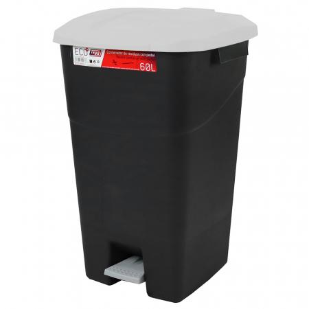 Pedal Operated Litter Bin - 60 Litre - Grey Lid