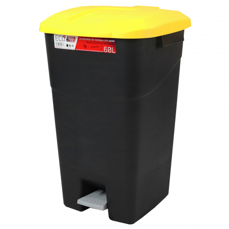Pedal Operated Litter Bin - 60 Litre - Yellow Lid