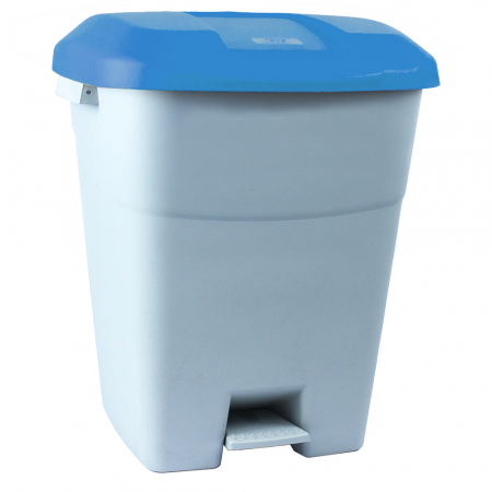 Pedal Operated Recycling Bin - 50 Litre - Blue Lid