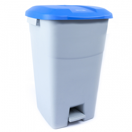 Pedal Operated Recycling Bin - 60 Litre - Blue Lid