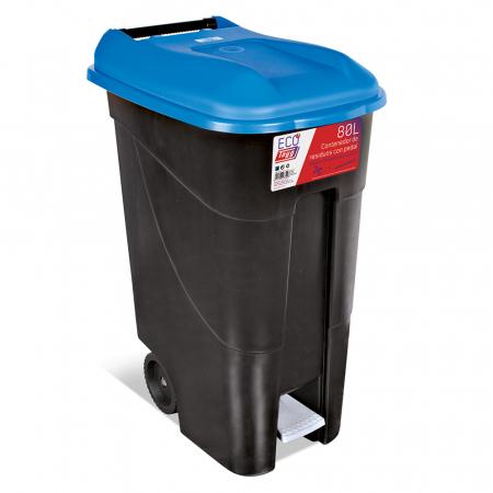 Pedal Operated Wheeled Litter Bin - 80 Litre - Blue Lid