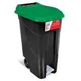 Pedal Operated Wheeled Litter Bin - 80 Litre - Green Lid