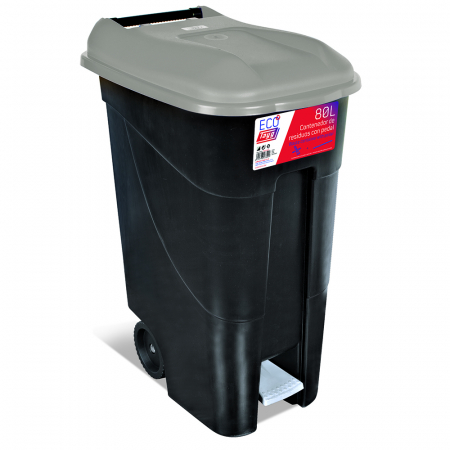 Pedal Operated Wheeled Litter Bin - 80 Litre - Grey Lid