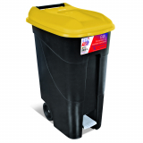 Pedal Operated Wheeled Litter Bin - 80 Litre - Yellow Lid