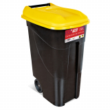 Wheeled Litter Bin - 80 Litre - Yellow Lid